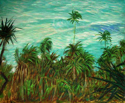 """N'apali Coast"" Hawaii oil painting and prints by Pointillistic/Impressionist painter Paul Berenson"