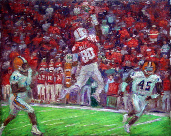 """Kenny Bell's Catch"" Nebraska Football oil painting and prints by Pointillistic/Impressionist painter Paul Berenson"
