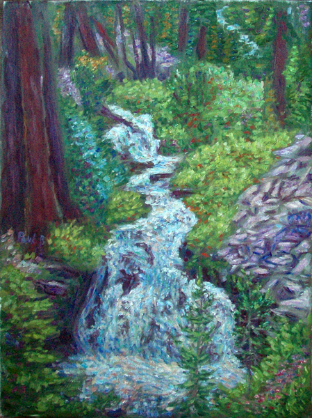 """King's Creek Falls"" National Park oil painting and prints by Pointillistic/Impressionist painter Paul Berenson"