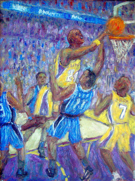"""Kobe"" LA Lakers oil painting and prints by Pointillistic/Impressionist painter Paul Berenson"