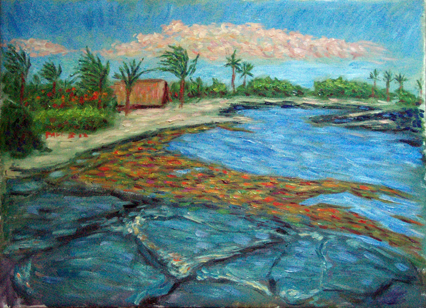 """Kona Hike"" Hawaii oil painting and prints by Pointillistic/Impressionist painter Paul Berenson"
