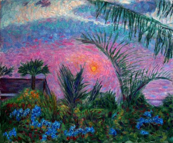 """Kona Sunsety"" Hawaii oil painting and prints by Pointillistic/Impressionist painter Paul Berenson"