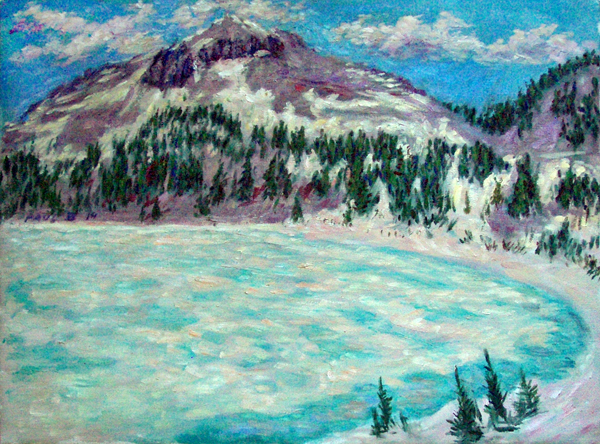 """Frozen Lake Helen"" National Parks oil painting and prints by Pointillistic/Impressionist painter Paul Berenson"