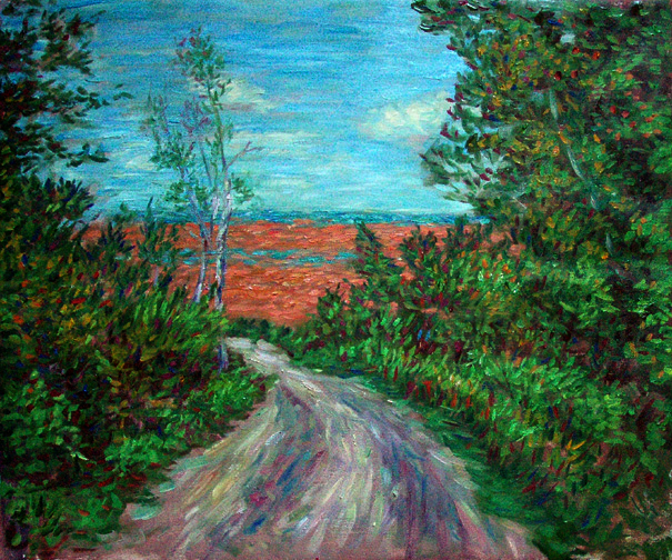 """The Road To Lake Superior"" Great Lakes oil painting and prints by Pointillistic/Impressionist painter Paul Berenson"