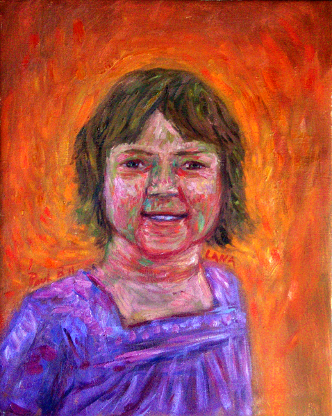 """Lana Frechette"" Friend Portrait oil painting and prints by Pointillistic/Impressionist painter Paul Berenson"