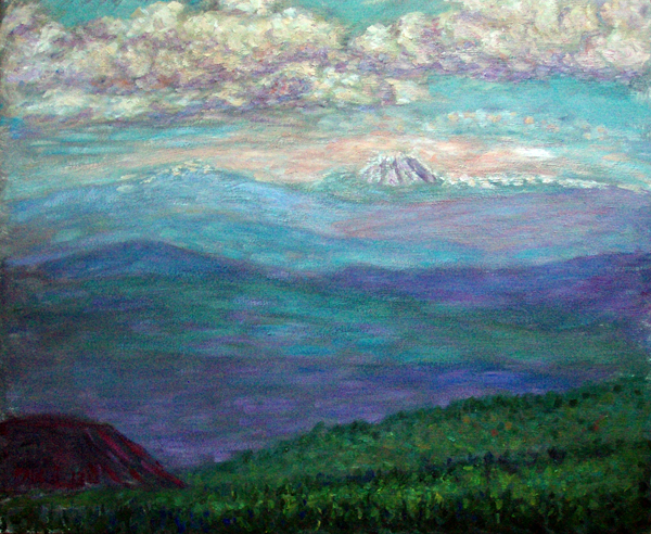 """Mt. Lassen from 8500 feet up Mt. Shasta"" California Volcano oil painting and prints by Pointillistic/Impressionist painter Paul Berenson"
