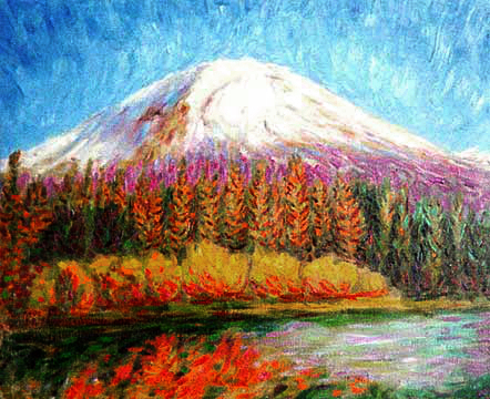 """Mt Lassen"" Lassen National Park oil painting and prints by Pointillistic/Impressionist painter Paul Berenson"