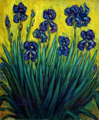 """Iris on a Lemon Background"" Iris Flower oil painting and prints by Pointillistic/Impressionist painter Paul Berenson"