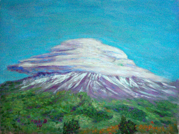 """Lenticular Mt. Shasta""  Mt. Shasta oil painting and prints by Pointillistic/Impressionist painter Paul Berenson"