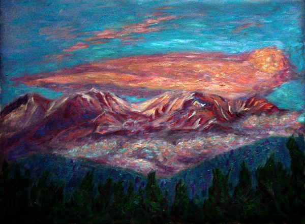 """Lenticular Sunset Over Mt. Shasta"" Shasta oil painting and prints by Pointillistic/Impressionist painter Paul Berenson"