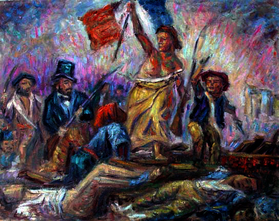 """Liberty Leading the People"" (After Delacroix) Classical Figure oil painting and prints by Pointillistic/Impressionist painter Paul Berenson"