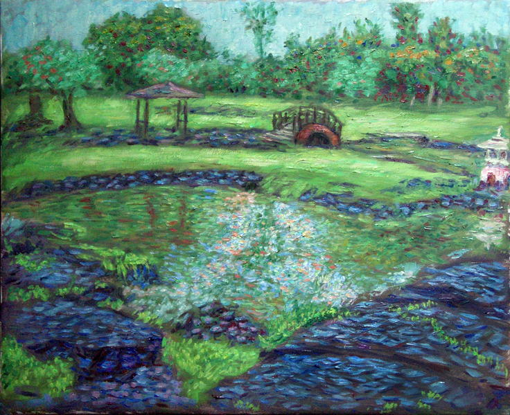 """Liliuokalani Gardens Footbridge"" Hawaii oil painting and prints by Pointillistic/Impressionist painter Paul Berenson"