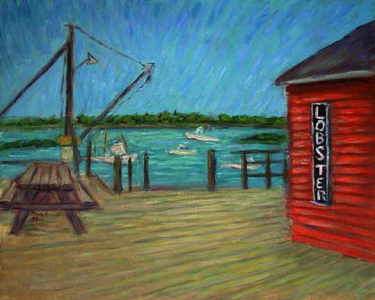 """Lobster Hut"""" Maine oil painting and prints by Pointillistic/Impressionist painter Paul Berenson"