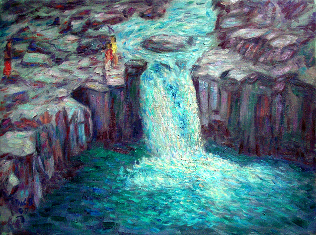 """Lower Falls of the McCloud River"" California Waterfalls oil painting and prints by Pointillistic/Impressionist painter Paul Berenson"