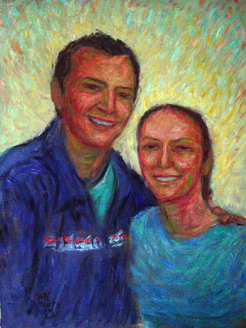 """Dusty and Lu"" Friend Portrait oil painting and prints by Pointillistic/Impressionist painter Paul Berenson"