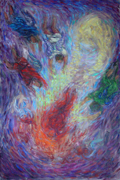 """Lucifer Cast From Heaven"" Biblical Figure oil painting and prints by Pointillistic/Impressionist painter Paul Berenson"