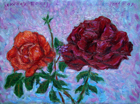 """Lynda's Roses"" Flower oil painting and prints by Pointillistic/Impressionist painter Paul Berenson"