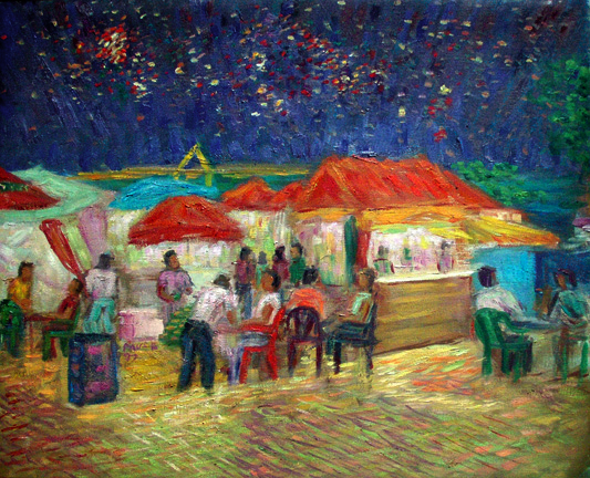 """Maceio Night"" Brazil oil painting and prints by Pointillistic/Impressionist painter Paul Berenson"