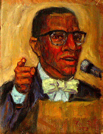 """Malcolm X"" Malcolm X Portrait oil painting and prints by Pointillistic/Impressionist painter Paul Berenson"