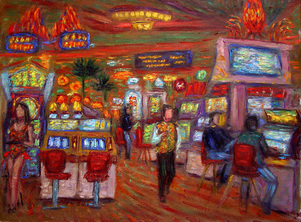 """Mandalay Bay"" Las Vegas oil painting and prints by Pointillistic/Impressionist painter Paul Berenson"