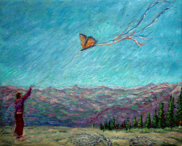 """Butterfly Over Mount Shasta"" Mt. Shasta oil painting and prints by Pointillistic/Impressionist painter Paul Berenson"