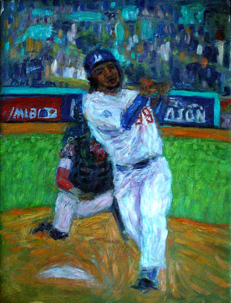 """Manny Ramirez"" Baseball oil painting and prints by Pointillistic/Impressionist painter Paul Berenson"