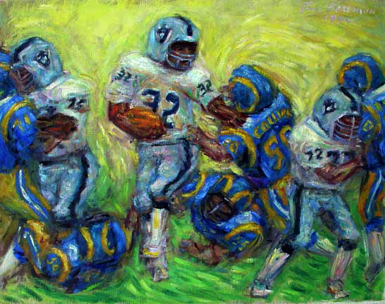 """Marcus Allen MVP"" Raiders Football oil painting and prints by Pointillistic/Impressionist painter Paul Berenson"