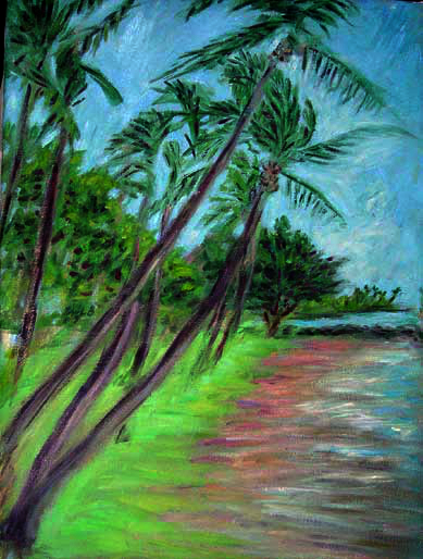 """Maui Palms"" Hawaii oil painting and prints by Pointillistic/Impressionist painter Paul Berenson"