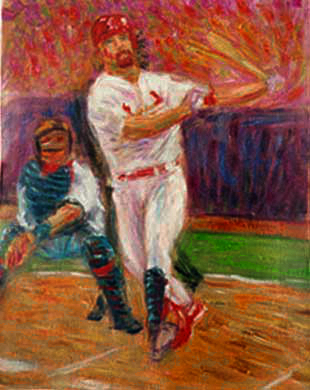 """Mark McGwire"" Baseball oil painting and prints by Pointillistic/Impressionist painter Paul Berenson"