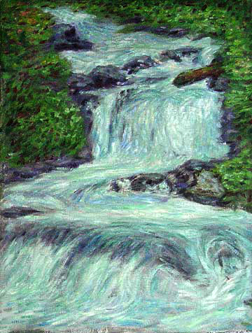 """McKenzie River"" Cascade Range oil painting and prints by Pointillistic/Impressionist painter Paul Berenson"