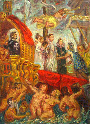 """Marie Medici Arrives at Marseilles"" (After Rubens) Classics oil painting and prints by Pointillistic/Impressionist painter Paul Berenson"
