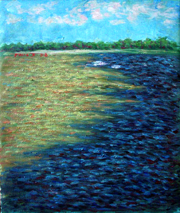 """Meeting of the Waters"" Brazil oil painting and prints by Pointillistic/Impressionist painter Paul Berenson"