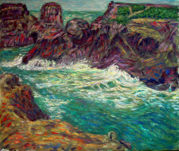 """Mendocino Headlands"" California Coast oil painting and prints by Pointillistic/Impressionist painter Paul Berenson"