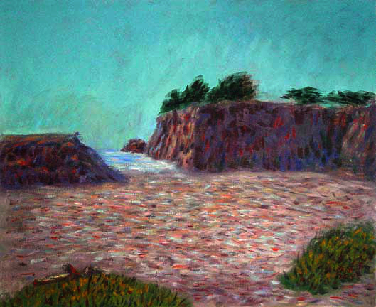 """Rockport"" California Coast oil painting and prints by Pointillistic/Impressionist painter Paul Berenson"