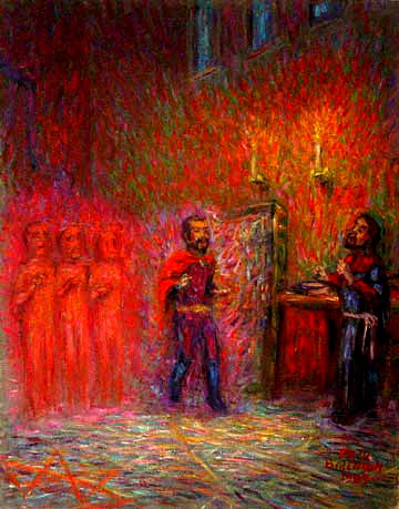 """Mephistopheles Appears to Faust"" Faust oil painting and prints by Pointillistic/Impressionist painter Paul Berenson"