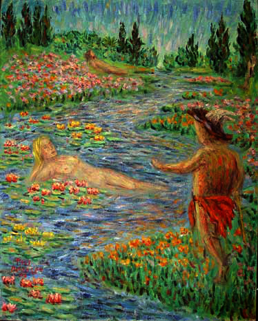 """Mercury and Calypso"" Classical Figure oil painting and prints by Pointillistic/Impressionist painter Paul Berenson"