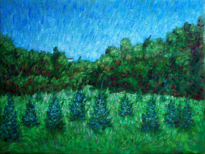 """Minnesota Field"" Lake Superior oil painting and prints by Pointillistic/Impressionist painter Paul Berenson"