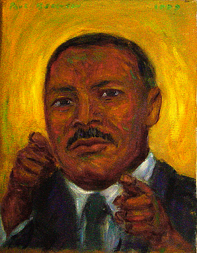 """Martin Luthur King, Jr.""; Portrait oil painting and prints by Pointillistic/Impressionist painter Paul Berenson"