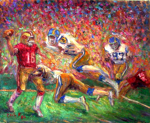 """Joe Montana"" Joe Montana oil painting and prints by Pointillistic/Impressionist painter Paul Berenson"