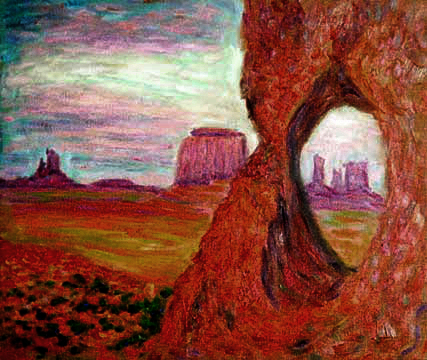 """Monument Valley Utah"" Utah oil painting and prints by Pointillistic/Impressionist painter Paul Berenson"