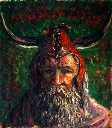 """Moondog"" Moondog Portrait oil painting and prints by Pointillistic/Impressionist painter Paul Berenson"
