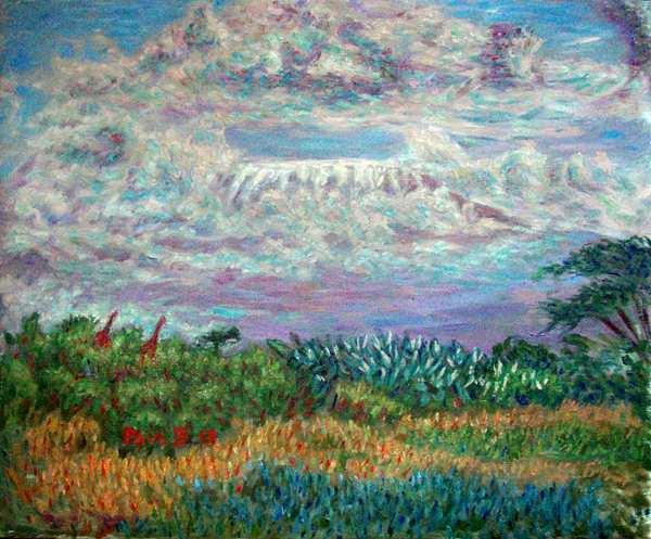 """Mt Kilimanjaro"" Mountains oil painting and prints by Pointillistic/Impressionist painter Paul Berenson"