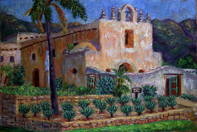 """Mt. Carmel Mission"" Santa Barbara oil painting and prints by Pointillistic/Impressionist painter Paul Berenson"