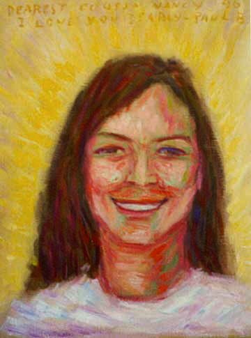 """ Cousin Nancy"" Portrait oil painting and prints by Pointillistic/Impressionist painter Paul Berenson"