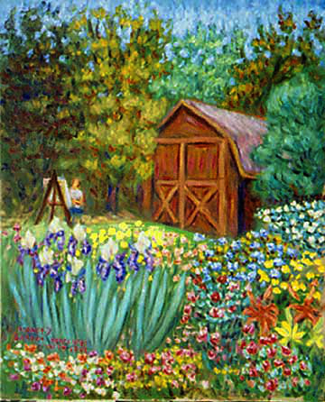 "Flower Garden Paintings paul painting nancy's garden"" flower garden paintings, prints, paulb"