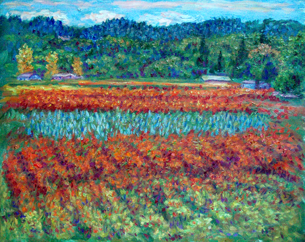 Napa Valley Fall, 2010 California oil painting and prints by Pointillistic/Impressionist painter Paul Berenson