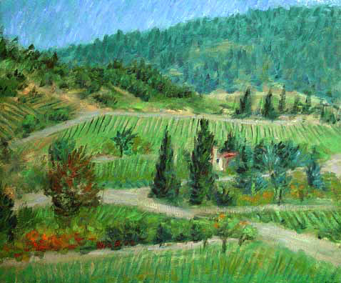 Napa Valley Wine Country oil painting and prints by Pointillistic/Impressionist painter Paul Berenson