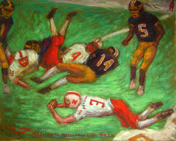"""The Catch"" Nebraska Football oil painting and prints by Pointillistic/Impressionist painter Paul Berenson"