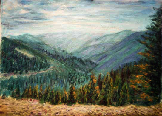 """Northern California Mountains"" California Mountains oil painting and prints by Pointillistic/Impressionist painter Paul Berenson"