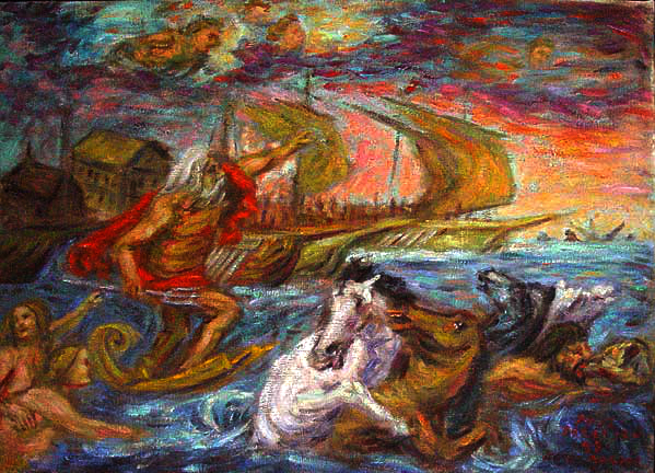 """The Wrath of Neptune"" (After Rubens) Classical Figure oil painting and prints by Pointillistic/Impressionist painter Paul Berenson"
